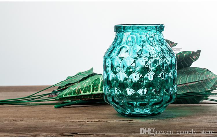 بسيطة مكعب المياه الحديثة الزجاج الأزرق المائية إناء شفاف صغير وجديد زهرة ترتيب الجدول jardiniere