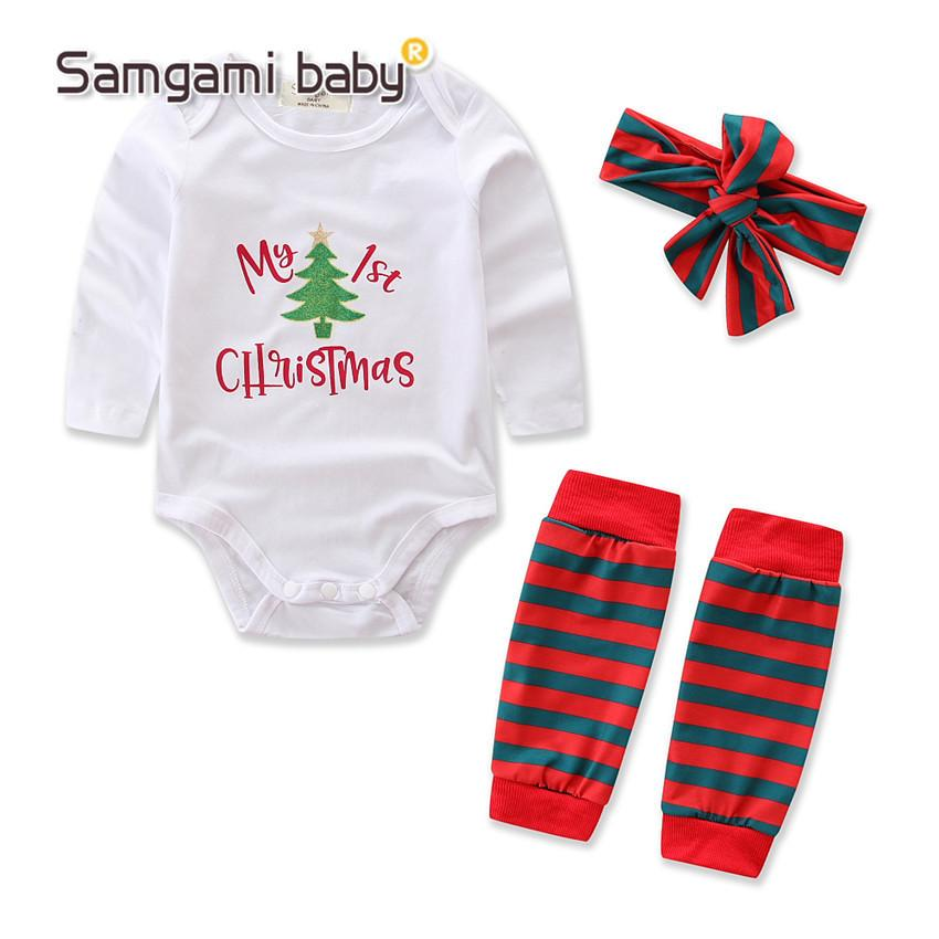 e60b9be8d16ee my 1st christmas New Baby Boys First Christmas Outfit Long Sleeve letter  Romper leg gloves headband 3 pieces set Outfit Set Xmas