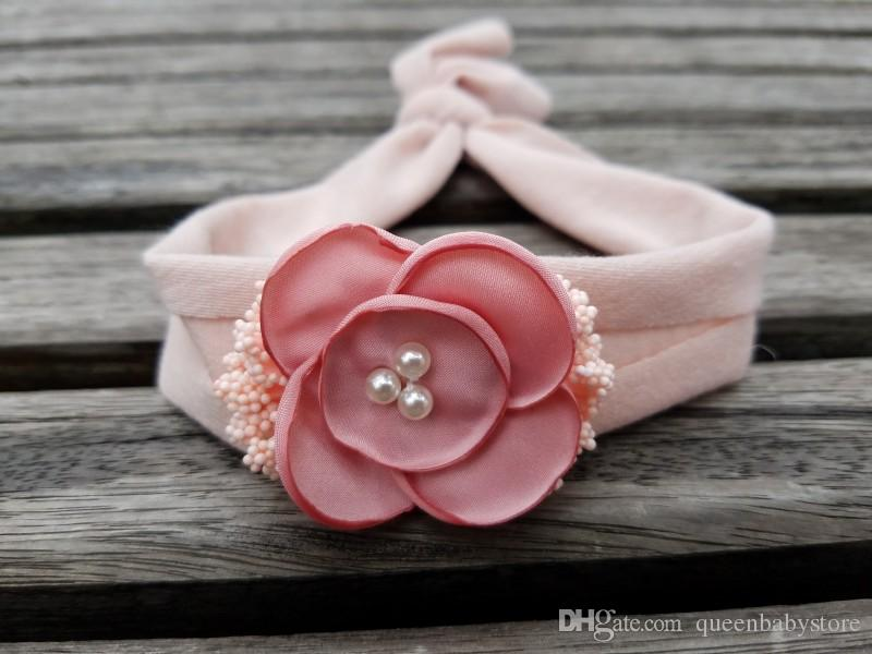 Baby Girl Flower Headband with Cotton Rhinestone Star Pearl Lace Burlap Fabric Hair Accessories Newborn Photography Props