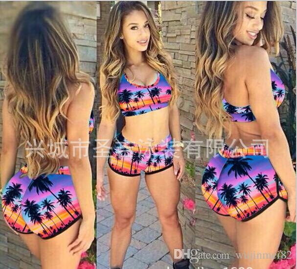 Fashion Women High Waist Bikini Set Push Up Top Swim Shorts Print Sexy Swimwear Beach Wear swim suit bathing suits
