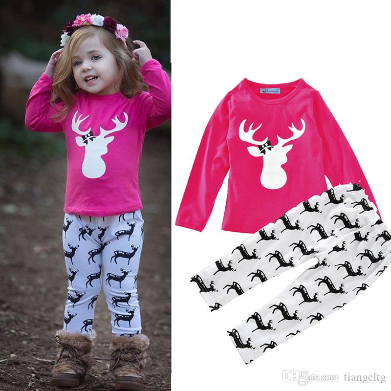 2625b5c9d54 2019 Boys Girls Clothing Sets Deers Winter Autumn Spring Casual Suits  Shirts Pants Hat Infant Outfits Kids Tops   Shorts 0 24M From Tiangeltg