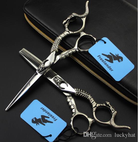 6inch hot sale Freelander hair shears hair scissors 440C cow head Hairdressing scissors flat teeth shears send with bags thinning scissors