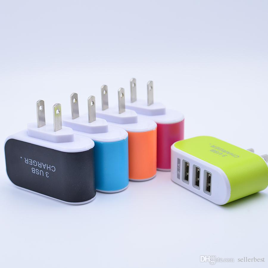Candy Multicolor LED Fast Charging Triple 3 USB Port Wall Home Travel AC Power Charger Adapter 3.1A EU/US Plug