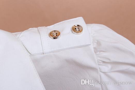 Women Epaulet Long Sleeve V-neck White Cotton Blouse Bodysuit Button Down Shirts Tops Clothing Jumpsuit S / M / L / XL