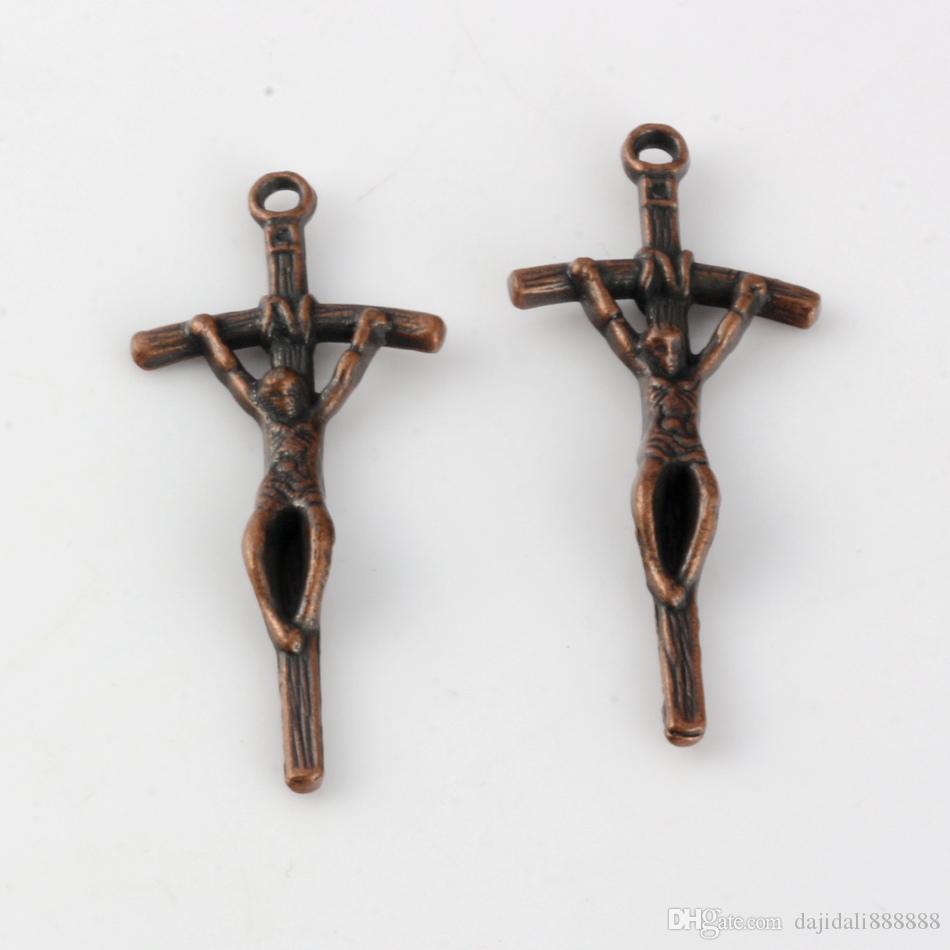 Heiß ! 200 stücke Antikes Kupfer Zinc Legierung Kreuz Jesus Charms Anhänger 18x41,5mm DIY Schmuck