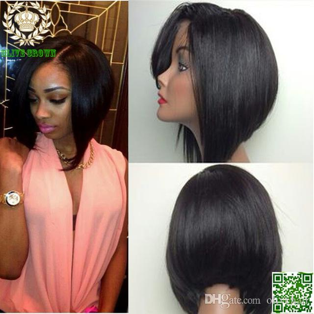 Short Glueless 100% Brazilian Human Hair Silky Straight Bob Lace Front / Full Lace Wig Heavy Density Baby Hair On Sale
