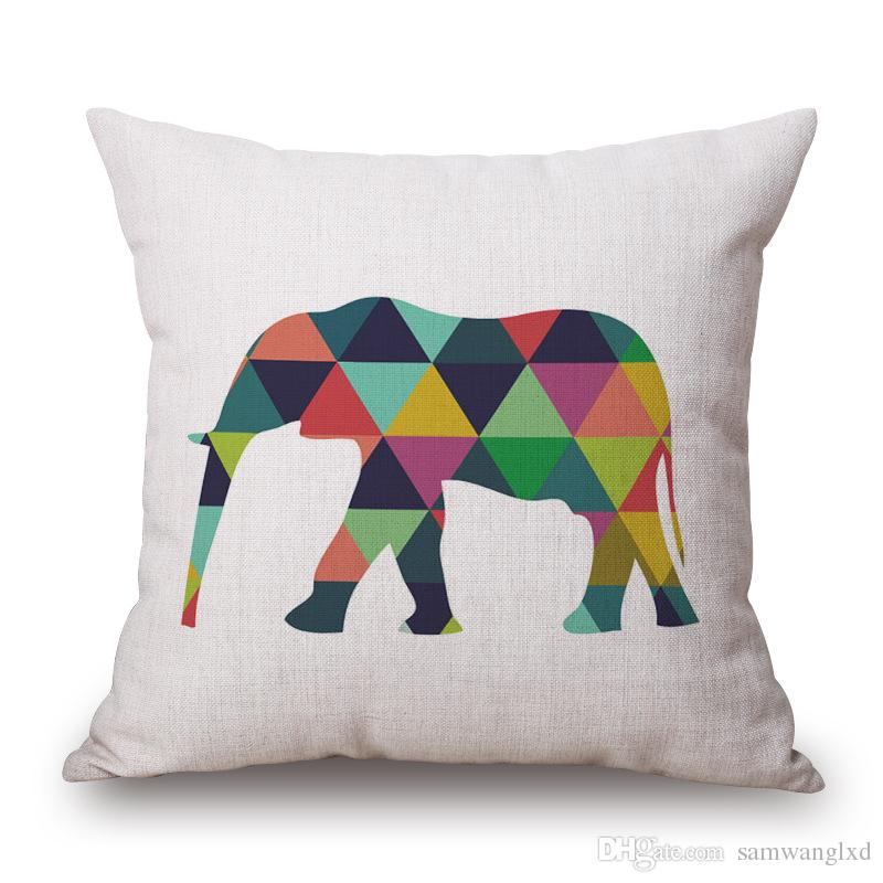 Elephant Cushion Cover Cotton Linen Decorative Animal Pillowcase Chair Seat Waist Square 45x45cm Pillow Cover Home Textile