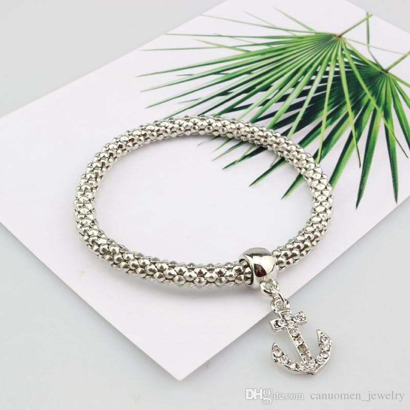 Boat Anchor Bracelet Rudder Charm Diamond Silver Rose Gold Plated Corn Chain Elastic Bracelets for Women and Girls Jewelry Party Wholesale