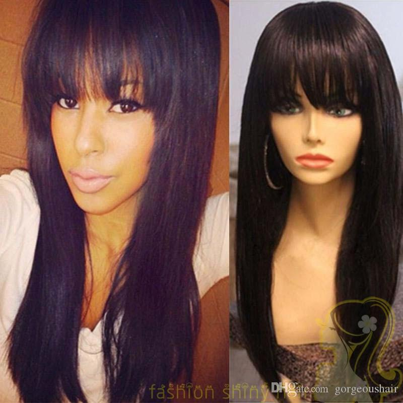 Peruvian Human Hair Full Fringe Wig Human Hair Glueless Full Lace Wig With Bangs Bleached Knots For Black Women