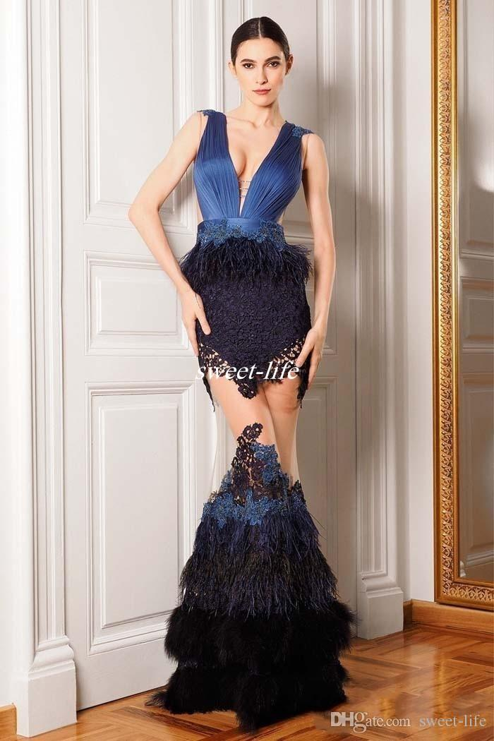 Luxury Feather Celebrity Dresses See Through V Neck Mermaid Shape Sheer Tulle Chiffon Appliques Prom Gowns Evening Dress 2016 New Arrival