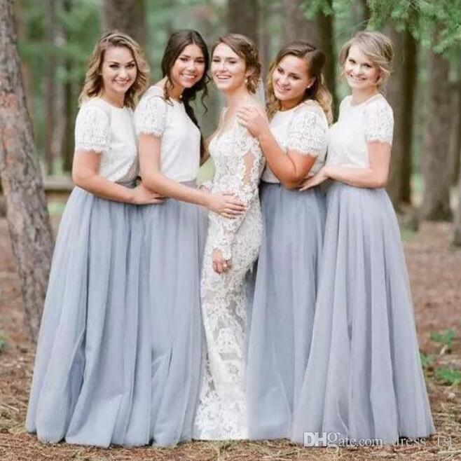 Popular 2017 Ivory Top Silver Grey Tulle Country Bridesmaid Dresses Long Jewel Two Pieces Maid Of Honor Gowns Custom Made EN92113