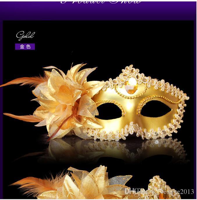 2016 Máscara de Halloween de princesa fiesta de Venecia máscara galvanoplastia borde circundante flores al por mayor máscara de la mascarada