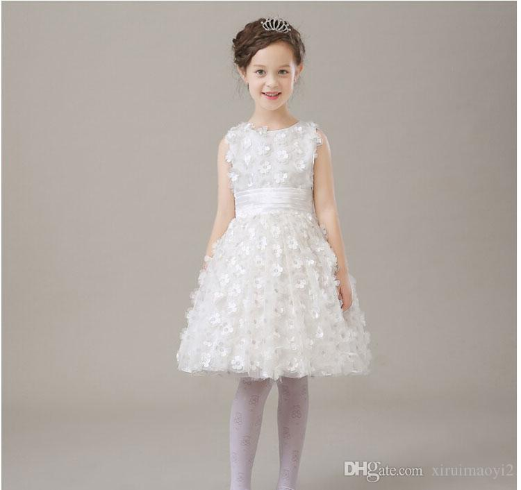 Фабрика точек элегантные девушки свадебные вечерние платья,белые лепестки дети бальное платье младенческой Принцесса день рождения цветок девушки платья