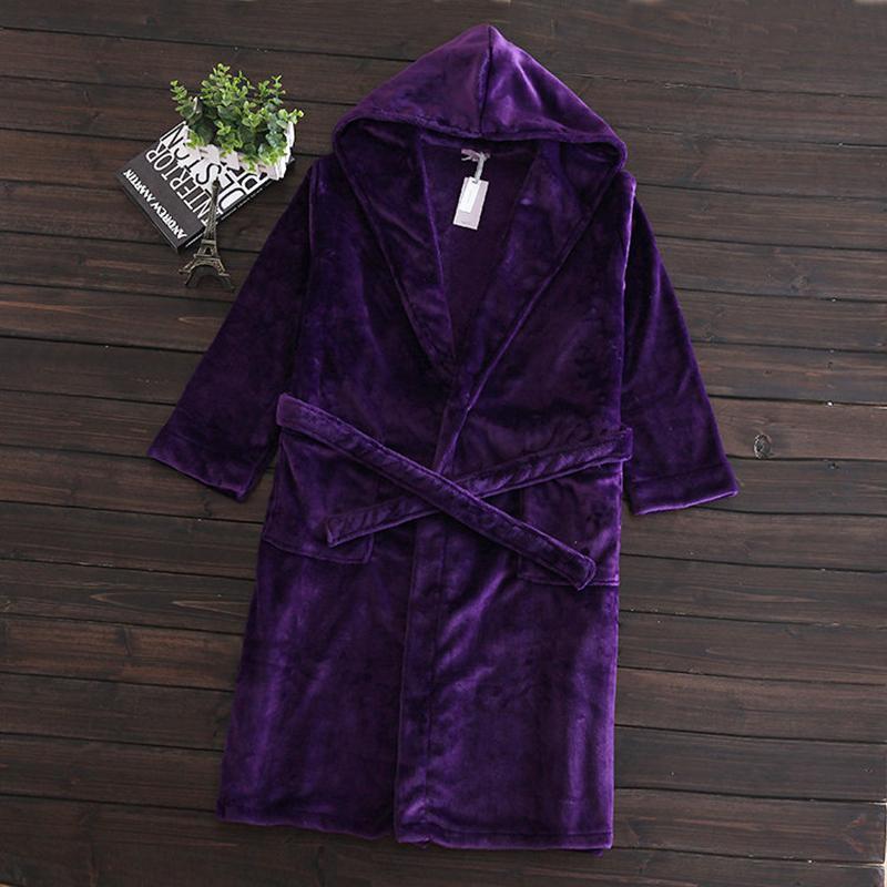 7f7da259bd Wholesale- Women Coral Fleece Warm Bathrobe Nightwear Dressing Gown ...