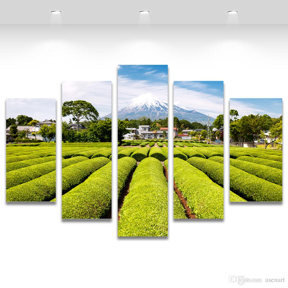 5 Panel Wall Art Snow Mountain Tea Garden Japan Landscape Painting Canvas Prints Artwork Picture for Living Room Unframed