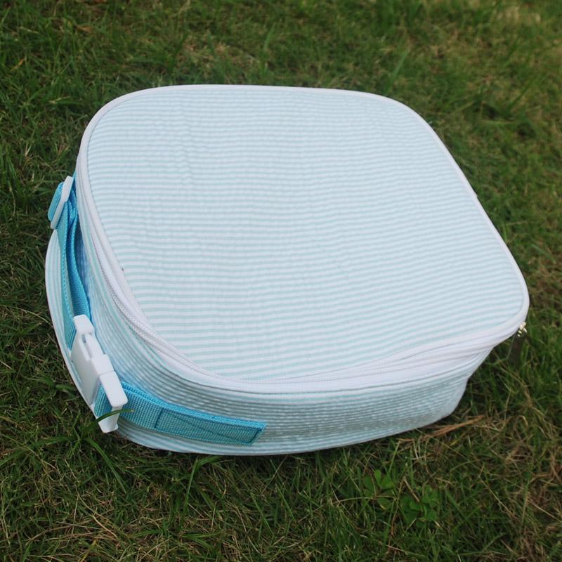 Handle Seersucker Bag Lunch Tote Bag Wholesale Blanks Cooler Bag Insulated Food Carriers In Six Different Beautiful Color DOM106344