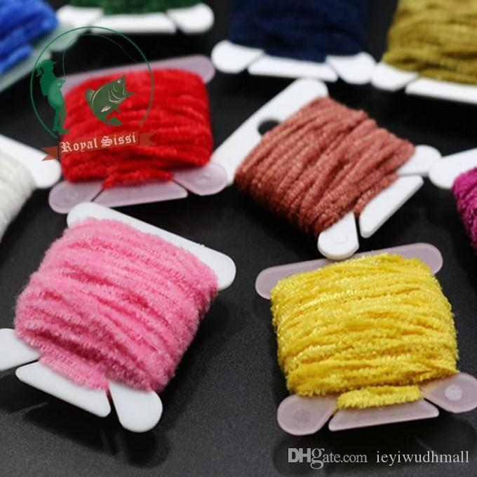 10CardsAssorted Rayon Chenille Yarn/ 2mm Tinsel line Chenille yarn for streamer/nymphal bugs Fly Fishing lure bait