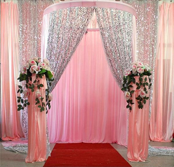Shiny 9mm sequins fabric for wedding table cloth for Background curtain decoration