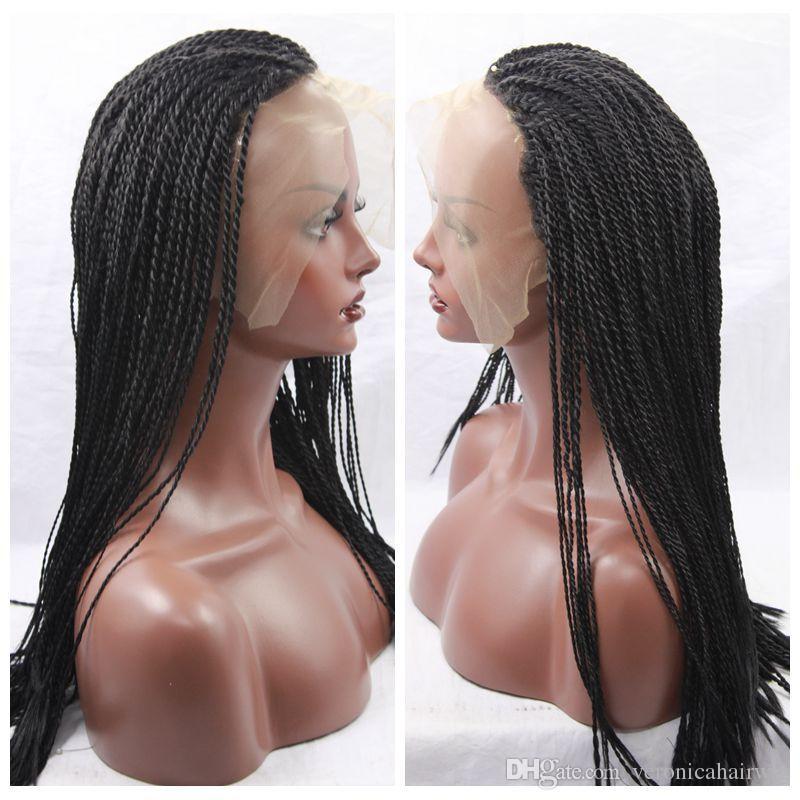Pelucas trenzadas del frente del cordón de la caja negra de Brown marrón con las pelucas sintéticas de la fibra del pelo del bebé pelucas micro de la torcedura de la Habana del pelo sintético completo de la mano