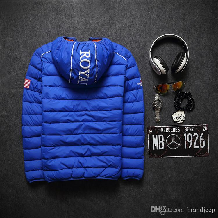 2016 mens winter warm downs jacket brand thick cotton embroidery men down parka coat printing black outdoor fashion sport hooded 64