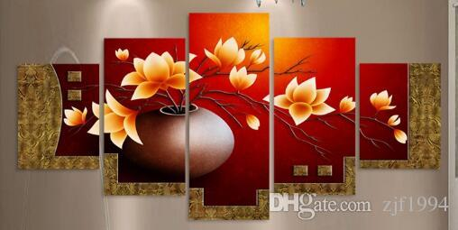 2017 Unframed Picture Flower Vase Canvas Art Print Oil Painting Wall Pictures for Living Room Paintings