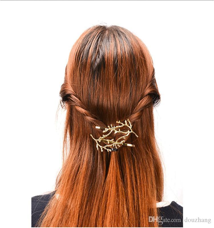 여자를위한 패션 연예인 금속 트리 지점 머핀 골드 실버 헤어 클립 핫 바비 핀 도매 를