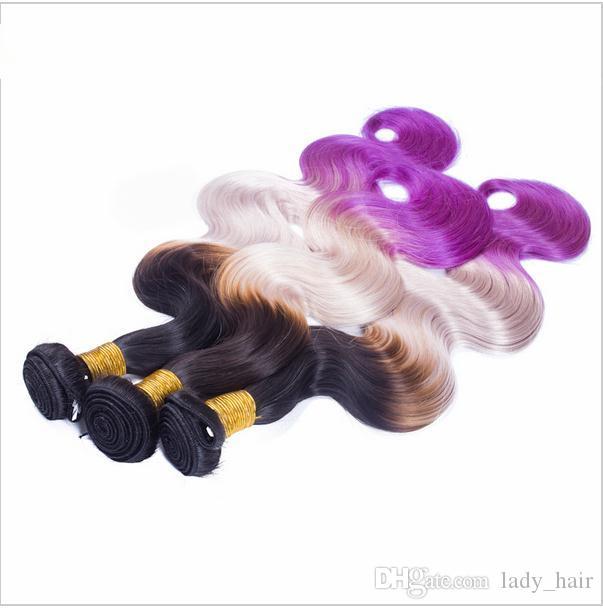 9A العذراء بيرو # 1B رمادي بنفسجي ثلاثة لهجة الشعر ينسج مع إغلاق الجسم موجة متموجة أومبير الشعر 3 حزم مع 4x4 الرباط اختتام