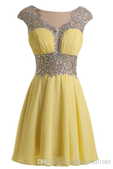 2016 new round neck chiffon Prom Dresses luxurious sparkling crystal beaded skirt graduation perspective sexy party Evening Dress plus size