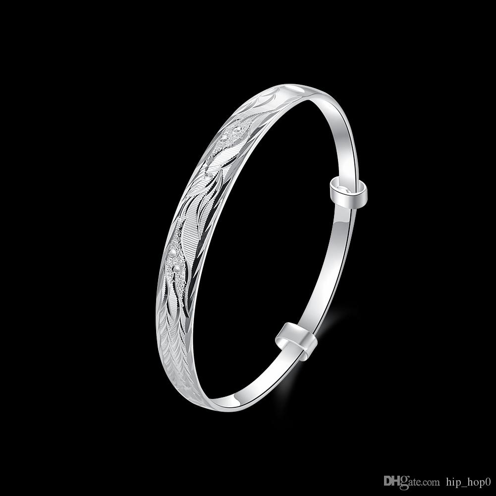 Carved Phoenix Pattern Bangle Bracelet in 925 Sterling Silver Jewelry Fashion Round Silver Plated Classic Noble Bracelet for Ladies Women