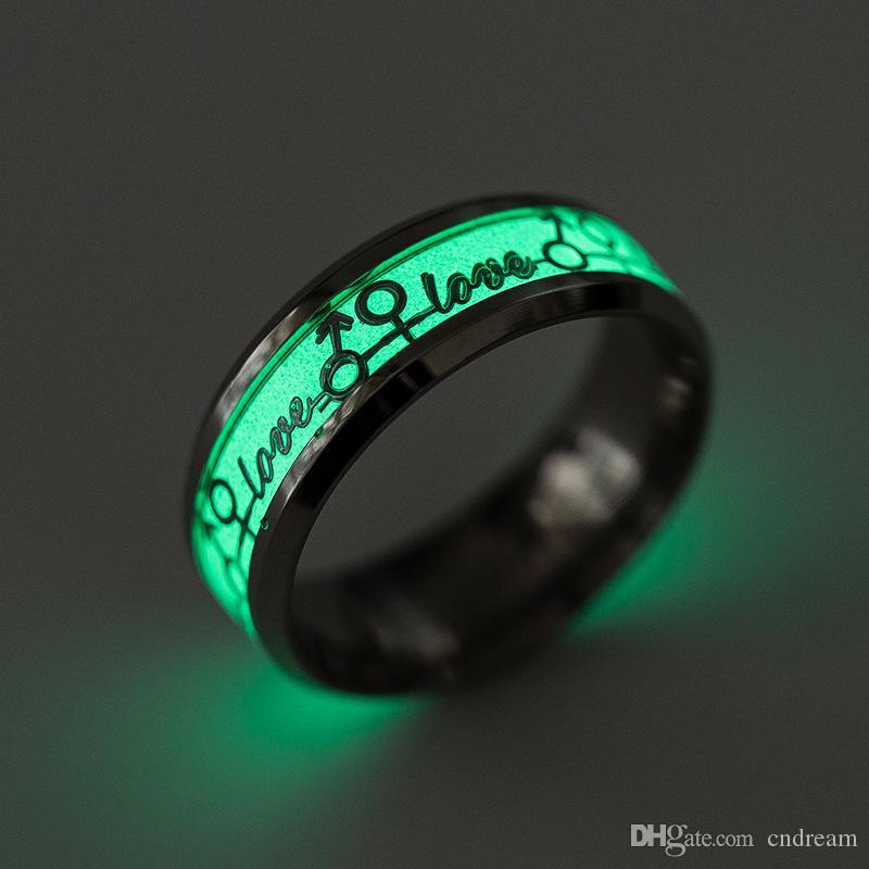 Liebe Glow im dunklen Ring Edelstahl Paar Ringe Frauen Mens Ringe Engagement Ehering Modeschmuck Geschenk Will und Sandy Neue
