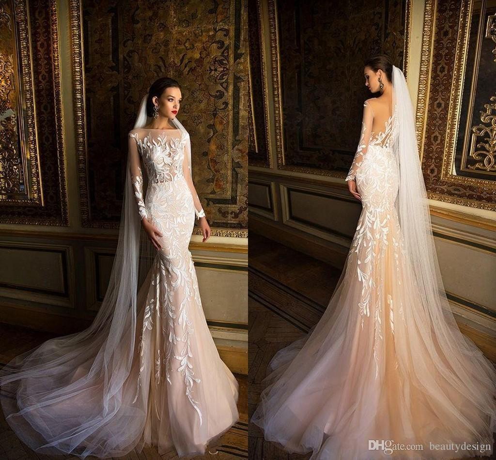 2018 Milla Nova Simple Satin Wedding Dresses 34 Long: Milla Nova 2018 Beach Wedding Dresses Mermaid Illusion