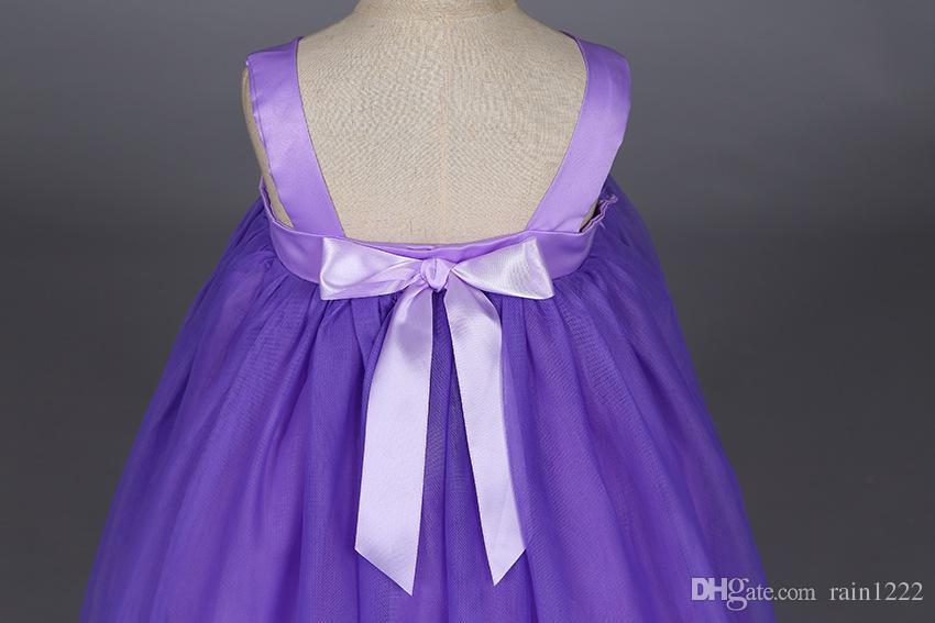 Girls Wedding Bridesmaid Dress Princess Flowers Party Ball Gown Slip Tutu Dresses Children Kids Formal Bow Long Suspender Dresses