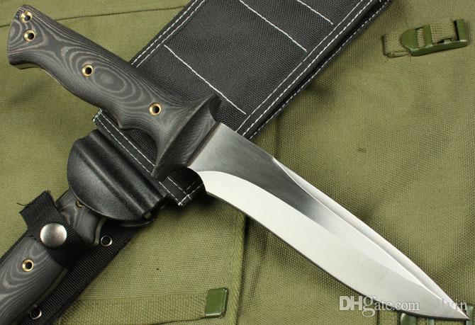 Classic Walter Brend Tactical straight knife AUS-8 59HRC Satin Blade Micata Handle Outdoor camping survial knives with Nylon sheath