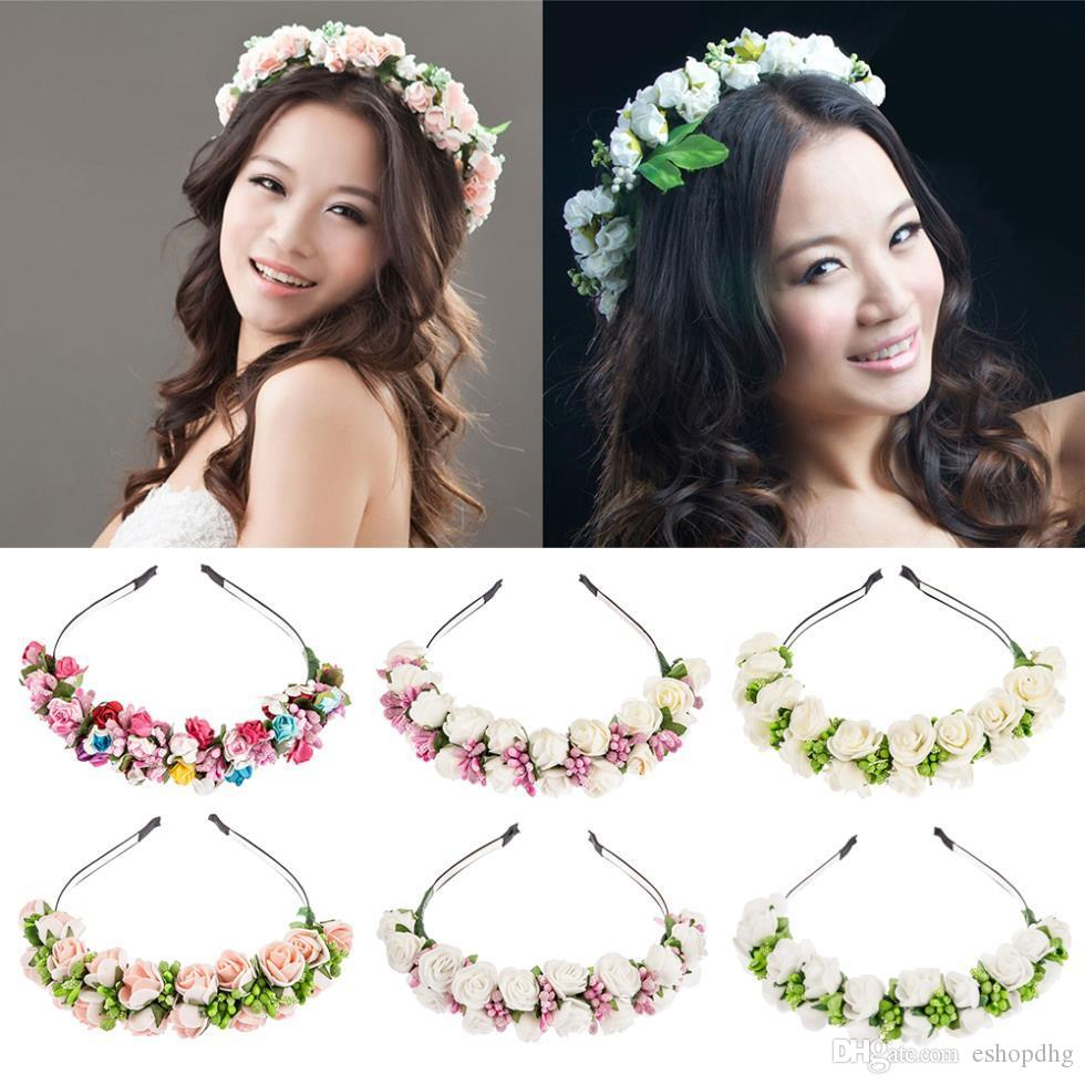 2019 Flower Garland Floral Bride Headband Hairband Wedding Party ... dd524f689b7