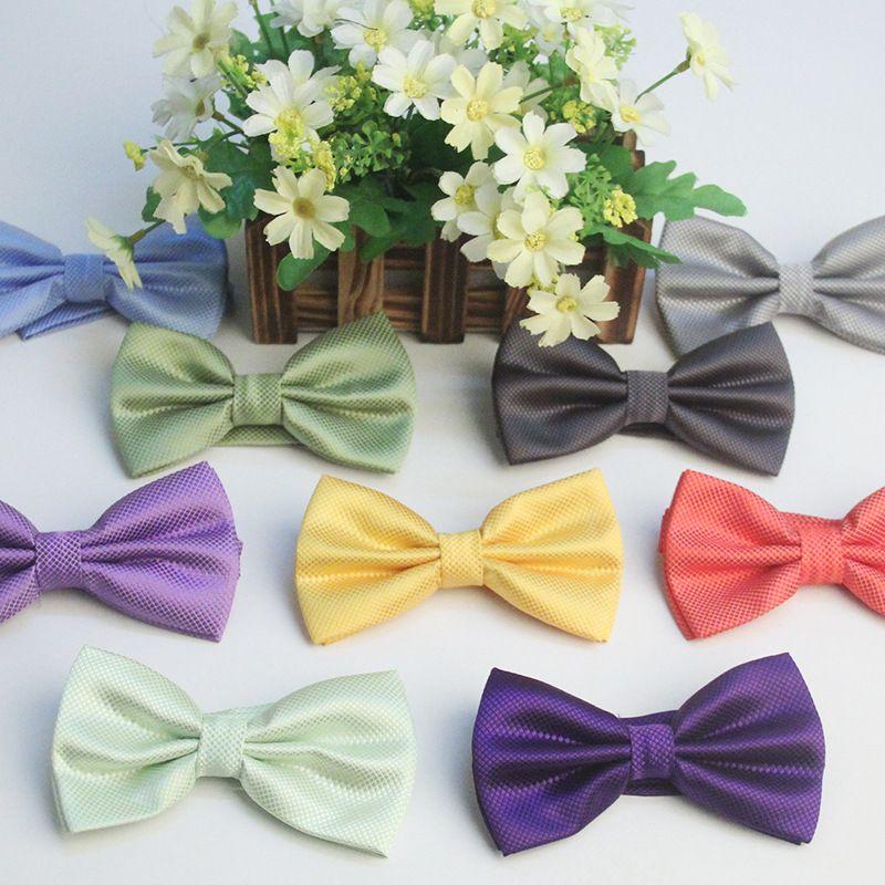 Novos homens adulto gravata borboleta de seda de poliéster jacquard solto sólido laço 22 cor 20-22