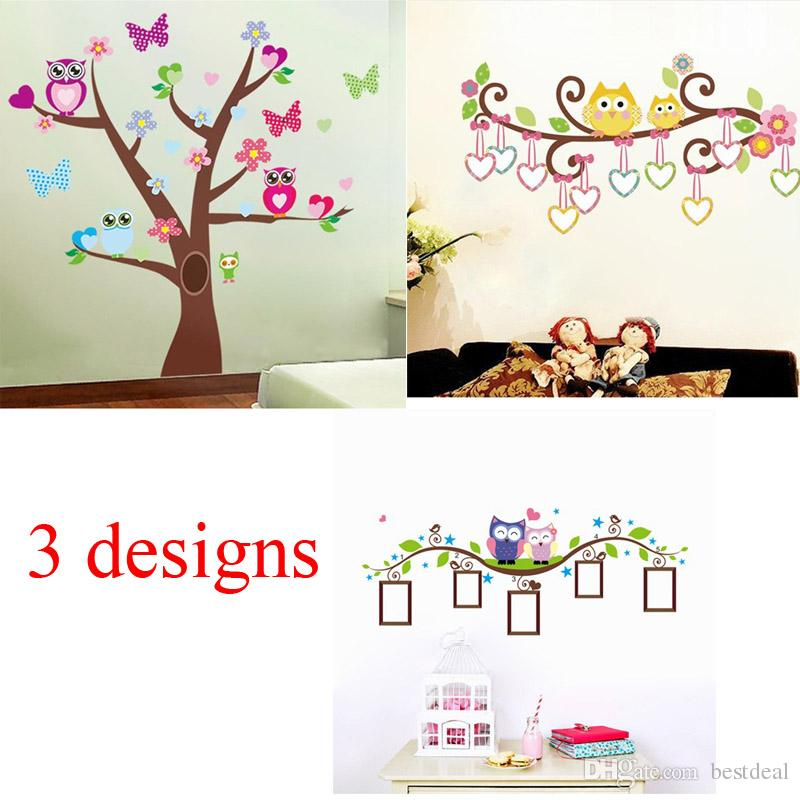 Zy1006 1007 1021 Cute Owls Tree Wall Stickers For Kids Room Decorations  Nursery Cartoon Decals Animals Mural Art Flowers Decal House Decal Stickers  From ...