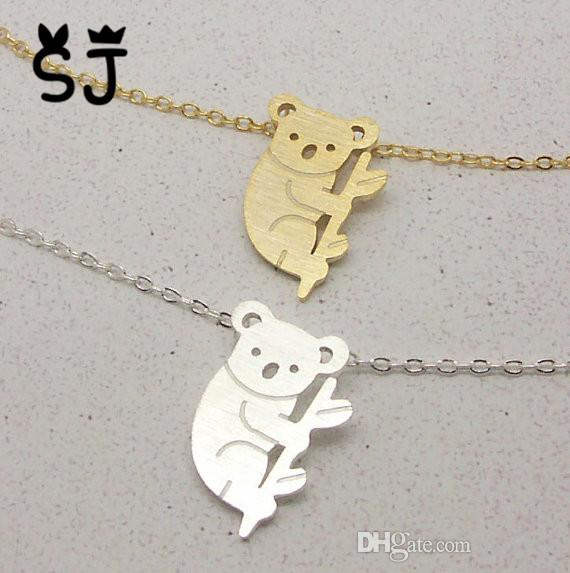 - N045 Gold Silver Cute Teddy Koala Bear Necklace Aussie Woodland Koala on Tree Branch Necklace Australian Panda Necklace