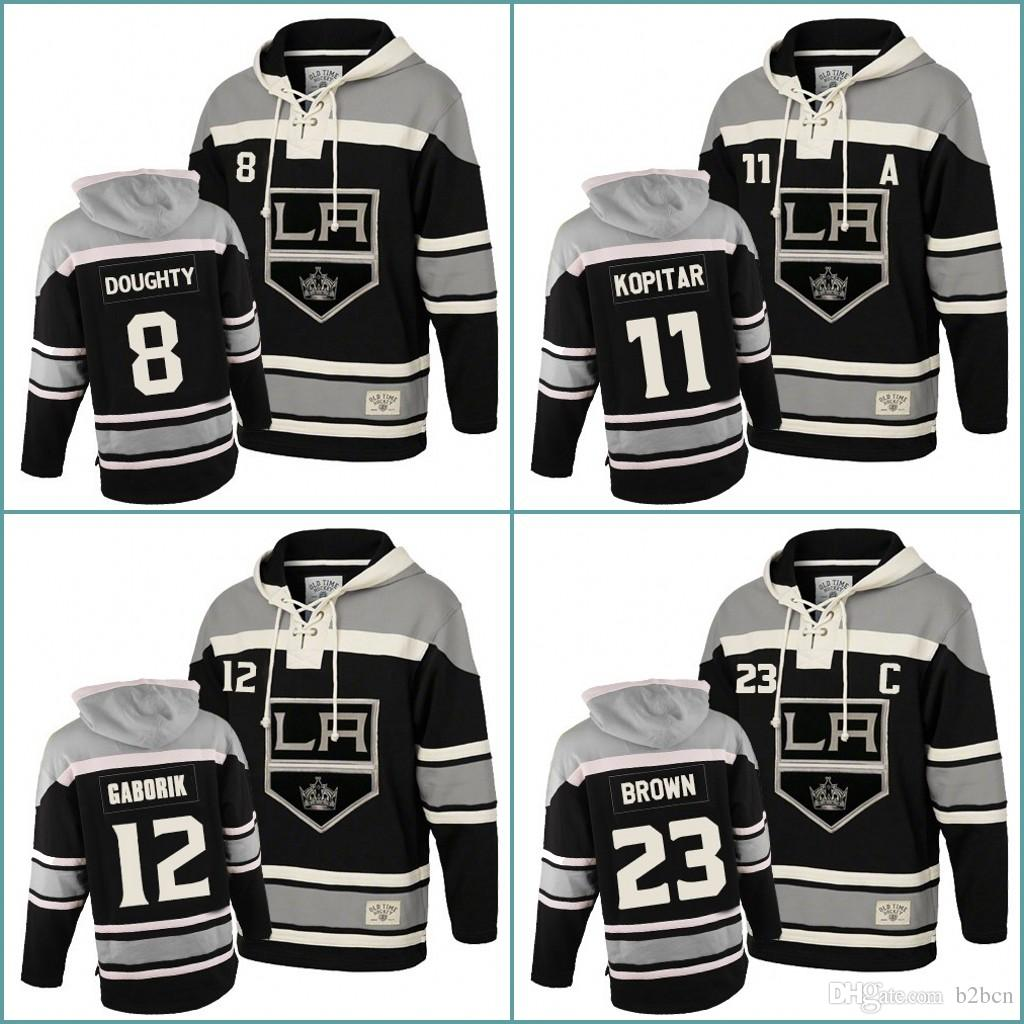 488a7a95b 8 Drew Doughty 11 Anze Kopitar 12 Marian Gaborik 23 Dustin Brown Mens Los  Angeles Kings Hockey Hoodie Stitched Jersey Hoodies Sweatshirts Anze  Kopitar ...