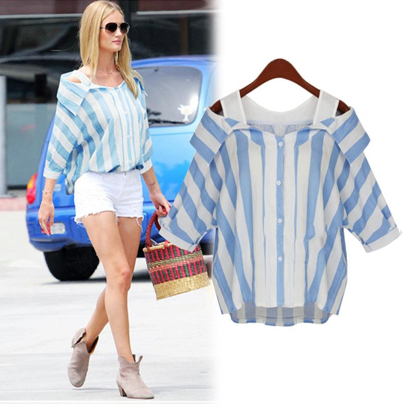 f183b589b15 2019 Blouses For Women 2016 Summer New Fashion Fat Girl Stripe False Two  Slim Strapless Shirt Female Tide Plus Size Xl 5xl 2 Colours W9803 From  Ame11
