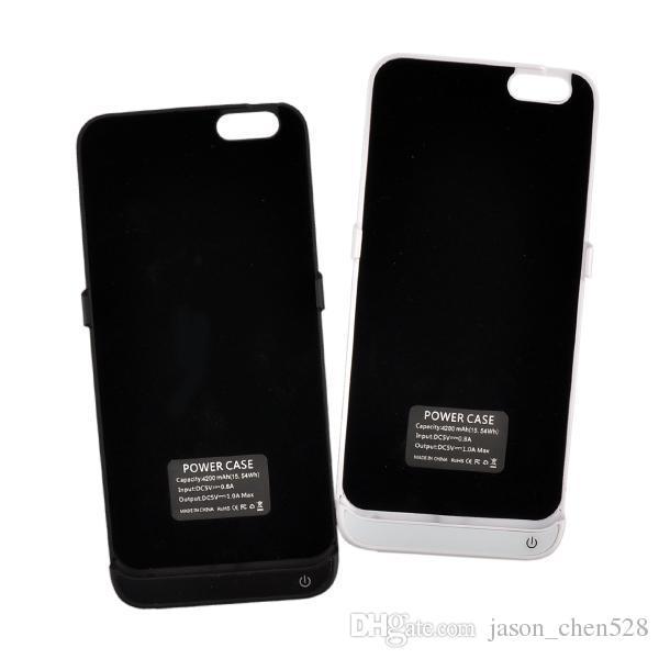 Jaqueta de bateria case capa 4200 mah banco de potência de volta telefone stand externo para iphone 6 4.7 polegadas com pacote de varejo