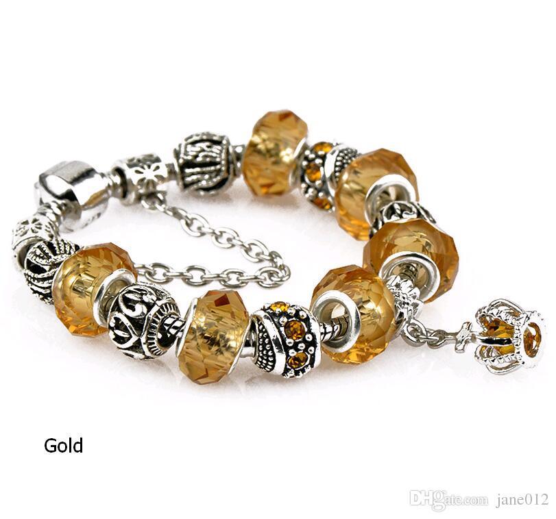 Кристалл Шарм шарик подходит европейский стиль Pandora браслеты золото синий черный 17 см-20 см длина старинные diy ручной цепи