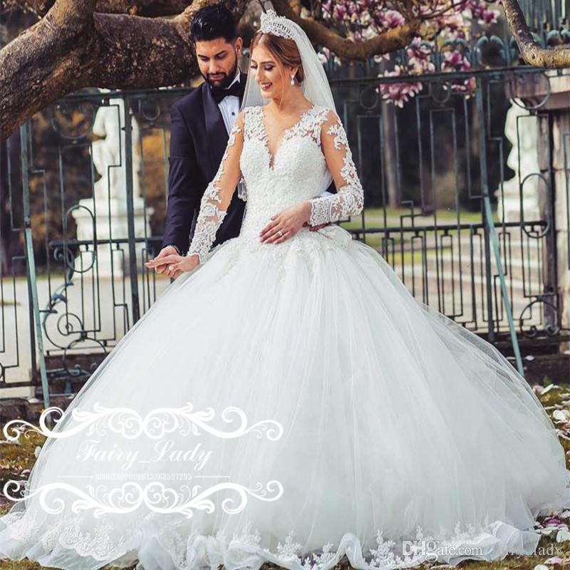Amazing White Sheer Lace Long Sleeves Wedding Dresses Puffy A Line