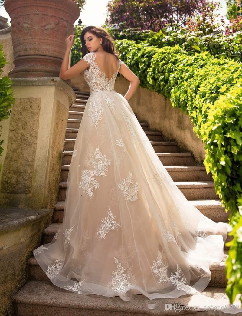 Charming Meerjungfrau Brautkleider mit abnehmbarem Zug schiere Bateau Hals Brautkleider Sweep Zug Trompete rückenfrei Plus Size Brautkleid