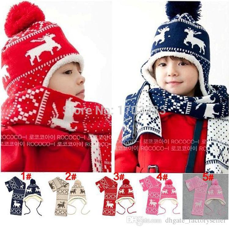 2016 Novo Inverno de Natal cervos de veludo Tampas da orelha Chapéus Do Bebê Das Meninas Dos Meninos Calorosamente Beanie Cinco Estrela Hat + Cachecol conjuntos