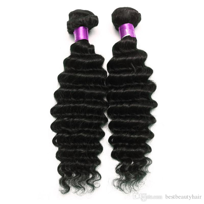 Brazilian Deep Curly Human Hair Weave Deep Wave Unprocessed Human Hair Extensions 100/pcs Natural Black Hair Weaves Brazilian Deep Wave