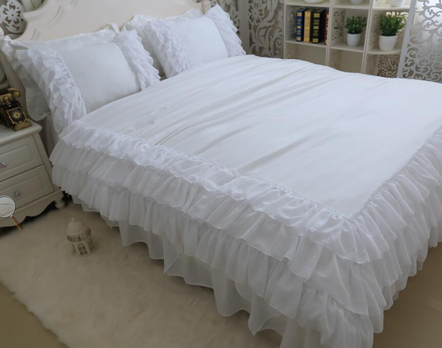 Deluxe Korean style white luxury snow spinning 3 layer princess twill princess bedding sets 4pcs, pillowcase, bed skirt Duvet Cover