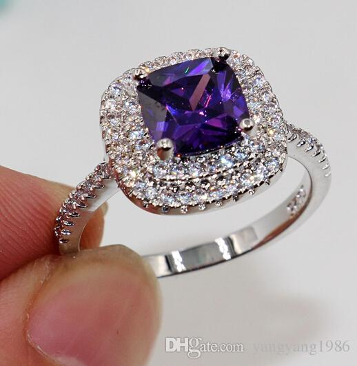 Wholesale - Fashion jewelry Nice Emerald Cut 8mm Amethyst Diamonique 925 sterling Silver filled for Women Engagement Wedding Ring Size 5-11
