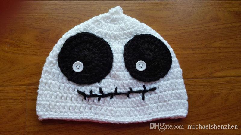 Niños de Halloween estilo las gorras de 4 muchachas de los muchachos de la araña calabaza fantasma gato ganchillo hecho a mano para niños sombreros del bebé del casquillo del sombrero de punto B001