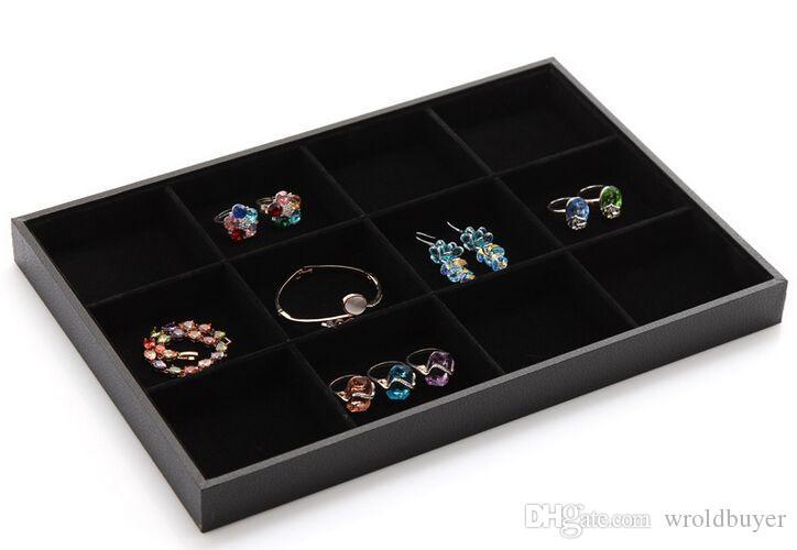 Selector del estilo al por mayor barato 9 / de 3 Bandeja del caso de exhibición de la joyería del encanto / exhibición / anillo pendiente del collar