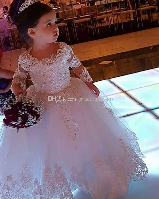 129906ab321ff White Ball Gown Princess Flower Girls s Dresses Long Sleeve Lace Appliques  with Beaded Little Girls Wedding Party Dresses